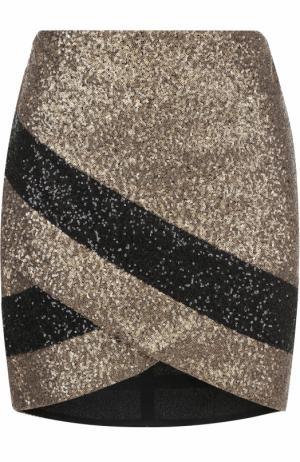 Мини-юбка асимметричного кроя с пайетками Elie Saab. Цвет: золотой