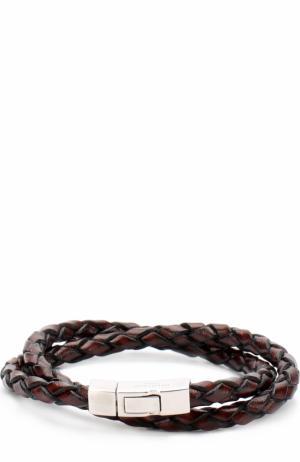 Плетеный кожаный браслет Tateossian. Цвет: коричневый