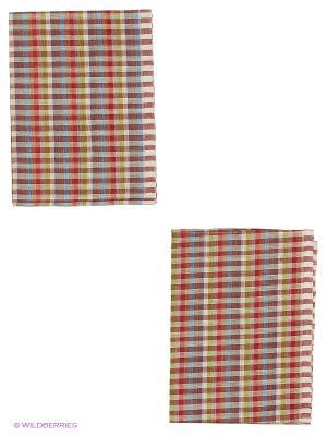 Набор полотенец лен Метиз. Цвет: коричневый, красный
