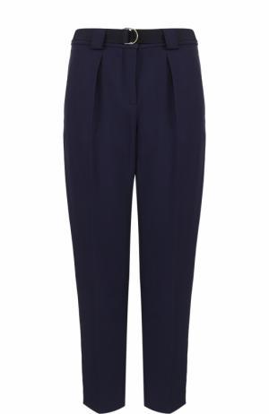 Укороченные брюки с защипами и поясом Tara Jarmon. Цвет: темно-синий