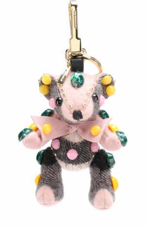 Брелок Thomas Bear из кашемира в клетку с камнями Burberry. Цвет: розовый