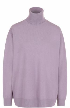 Шерстяной свитер свободного кроя с высоким воротником Dries Van Noten. Цвет: лиловый