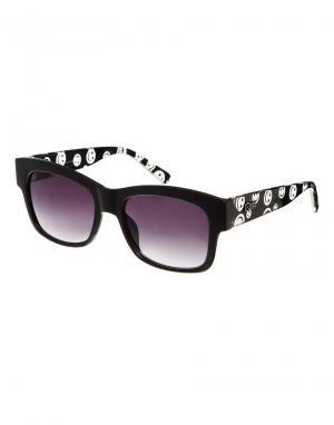 Quay Australia Солнцезащитные очки с принтом на дужках. Цвет: черный