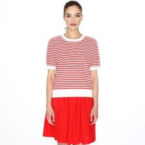 Пуловер в полоску с короткими рукавами PEPALOVES. Цвет: красный