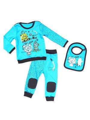 Комплект одежды Апрель. Цвет: бирюзовый, темно-синий