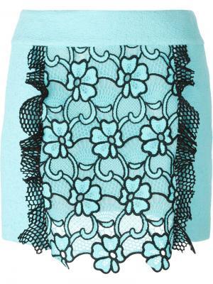 Юбка с цветочным узором Emanuel Ungaro. Цвет: синий