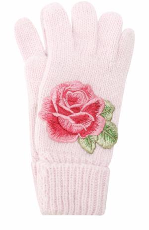 Вязаные перчатки с аппликацией Monnalisa. Цвет: розовый
