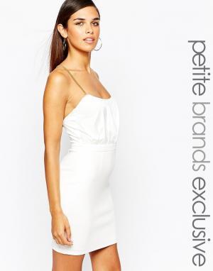 Lipstick Boutique Petite Облегающее платье с перекрестными цепочками сзади Pe. Цвет: белый
