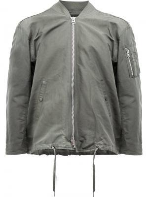 Куртка-бомбер на молнии 08Sircus. Цвет: зелёный