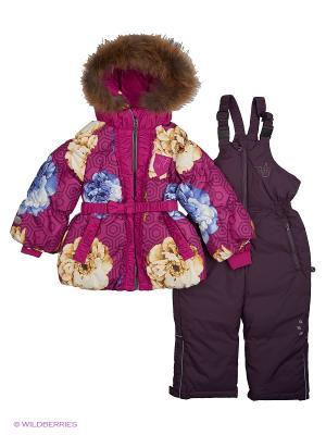 Пуховый комплект (куртка+полукомбинезон) NELS. Цвет: фиолетовый, бежевый, фуксия