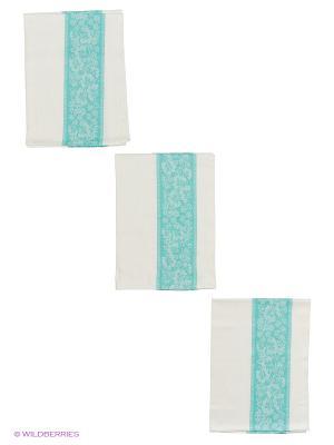 Набор полотенец лен Метиз. Цвет: белый, зеленый