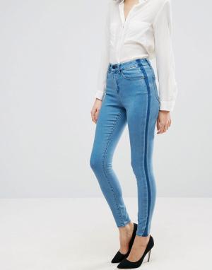 ASOS Синие премиум-джинсы с полосками по бокам SCULPT ME. Цвет: синий
