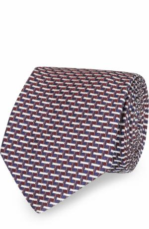 Шелковый галстук с узором Eton. Цвет: бордовый