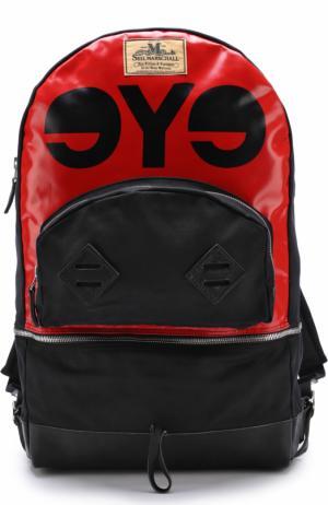 Текстильный рюкзак с кожаной отделкой Junya Watanabe. Цвет: красный