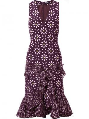 Платье с цветочным принтом и расклешенным подолом Holly Fulton. Цвет: розовый и фиолетовый