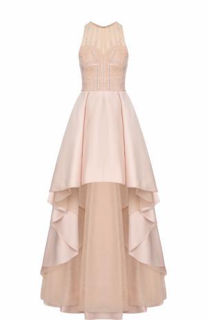 Приталенное платье-макси асимметричного кроя Zuhair Murad. Цвет: светло-розовый