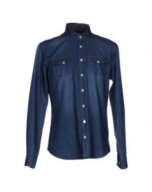 Джинсовая рубашка YES ZEE by ESSENZA. Цвет: синий