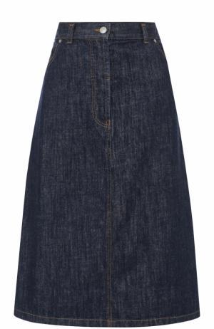 Джинсовая юбка-миди А-силуэта Dries Van Noten. Цвет: синий