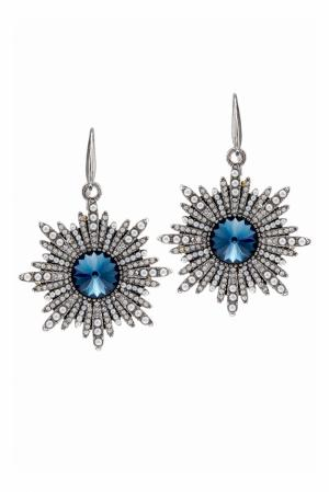 Серьги с кристаллами Herald Percy. Цвет: серебряный, синий