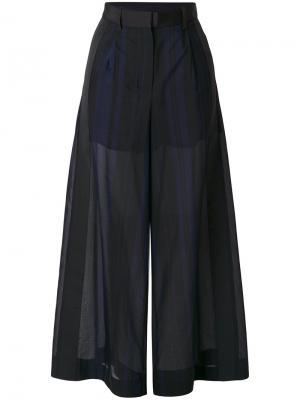 Прозрачные брюки-палаццо Voile Sacai. Цвет: чёрный