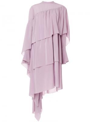 Асимметричное ярусное платье Petar Petrov. Цвет: розовый и фиолетовый