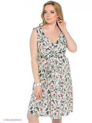 Платье Oodji. Цвет: белый, зеленый