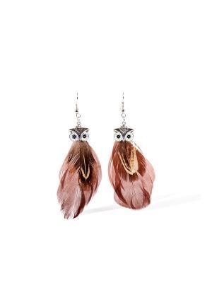 Серьги с перьями Под покровительством Афины в стиле бохо Nothing but Love. Цвет: светло-коричневый, серебристый, темно-коричневый