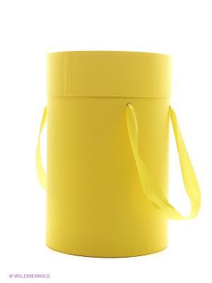 Коробка картонная цилиндр для цветов с люверсами и ручками Мимоза VELD-CO. Цвет: желтый