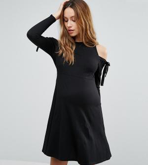 ASOS Maternity Платье с открытыми плечами, завязками и длинными рукавами Materni. Цвет: черный
