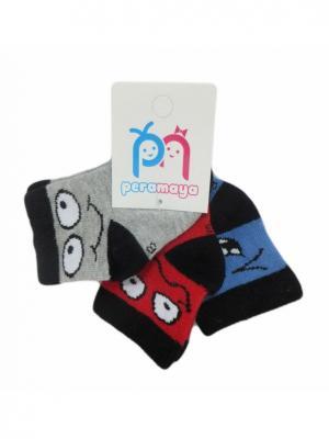 Носки детские, 3 пары PERA MAYA. Цвет: серый, красный, синий