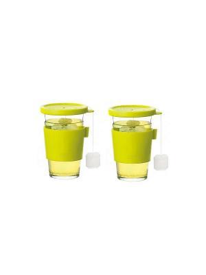 Стаканы Glasslock GL-1363 2*380мл для гор напитков. Цвет: оливковый, прозрачный