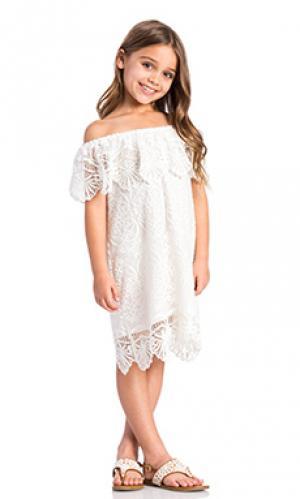 Платье со спущенными плечами seashell Nightcap. Цвет: белый
