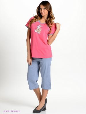 Домашний костюм Vienetta Secret. Цвет: розовый, серо-голубой