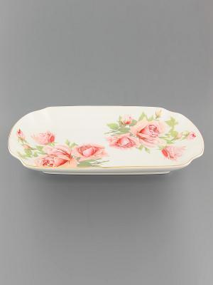 Блюдо для слоеных салатов Розовая фантазия Elan Gallery. Цвет: розовый, белый, зеленый