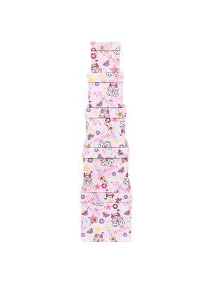 Коробка картонная, набор из 5 шт. 9х9х9 - 17х17х17 см. Замок принцессы VELD-CO. Цвет: бледно-розовый, розовый