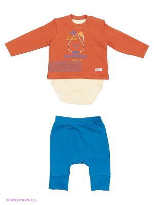 Костюм для малышей WO&GO. Цвет: молочный, бирюзовый, коричневый