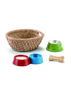 Набор Корм для собак и котов SCHLEICH. Цвет: синий, бежевый, красный