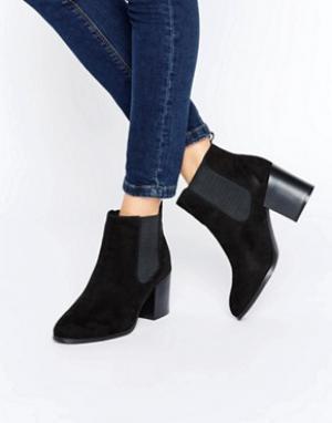 London Rebel Классические ботинки челси на каблуке. Цвет: черный