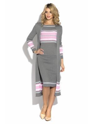 Кардиган CLEVER woman studio. Цвет: серый, розовый