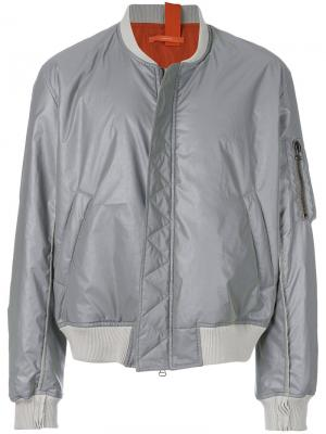 Куртка-бомбер на молнии Komakino. Цвет: металлический