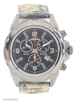 Часы TIMEX. Цвет: серебристый, бежевый, зеленый