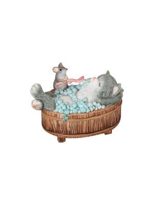 Фигурка декоративная Кот в ванной Elan Gallery. Цвет: коричневый, голубой, серый