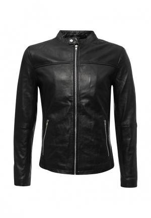 Куртка кожаная Solid. Цвет: черный