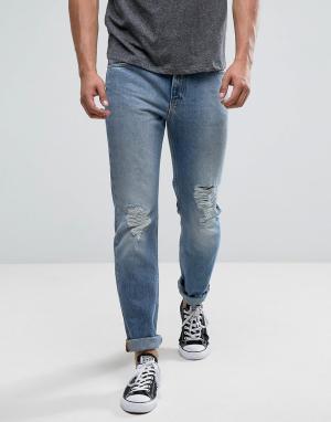 Lee Светлые рваные джинсы слим Rider Mega. Цвет: синий