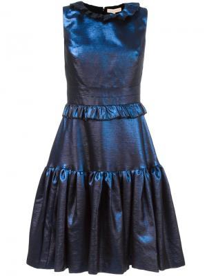 Расклешенное платье с рюшами Maria Lucia Hohan. Цвет: синий