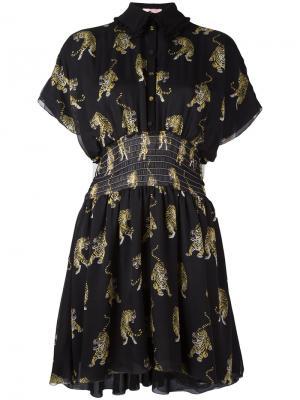 Платье-футболка с принтом тигров Giamba. Цвет: чёрный