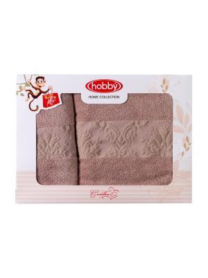 Махровое полотенце в коробке 50x90+70x140 RUZANNA ,св.коричневое,100% хлопок HOBBY HOME COLLECTION. Цвет: светло-коричневый