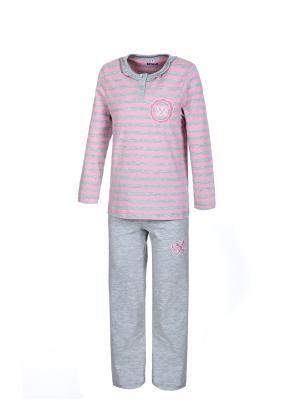 Пижама BAYKAR. Цвет: серый меланж, розовый