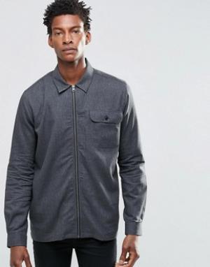 ADPT Куртка в стиле рубашки на молнии. Цвет: черный