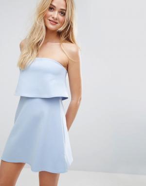 ASOS Платье-бандо мини с кроп-топом. Цвет: синий